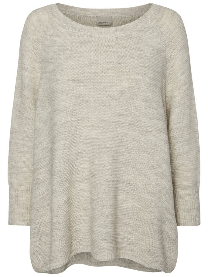 MANCHES LONGUES PULL EN MAILLE, Light Grey Melange, large