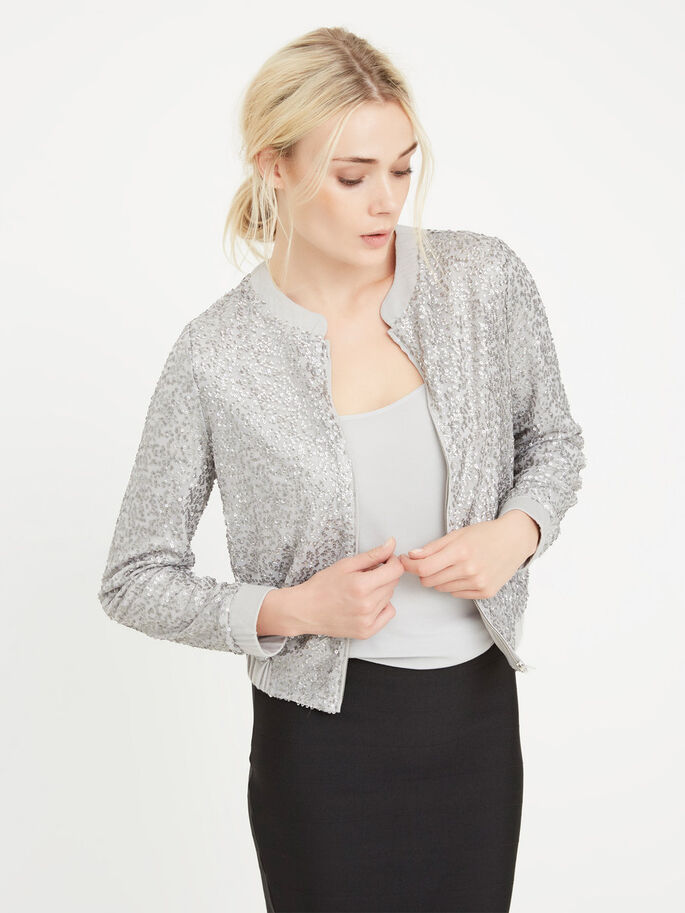 BOMBER JACKET, Silver, large