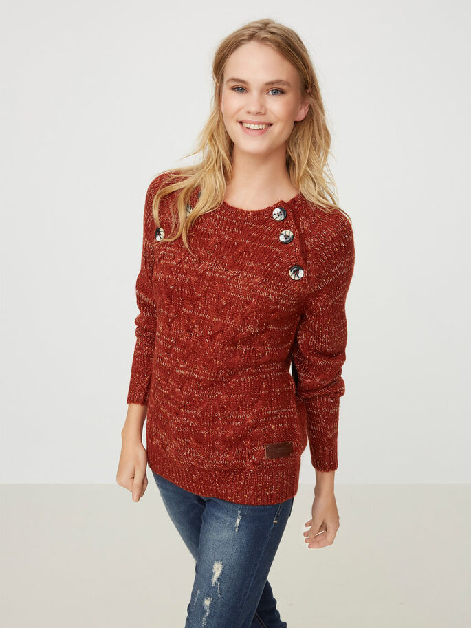 STRIKKET PULLOVER, Fired Brick, large