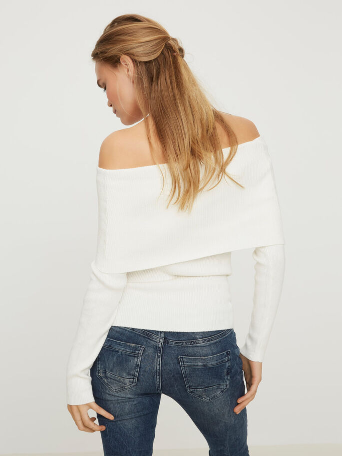 OFF-SHOULDER LONG SLEEVED TOP, Snow White, large