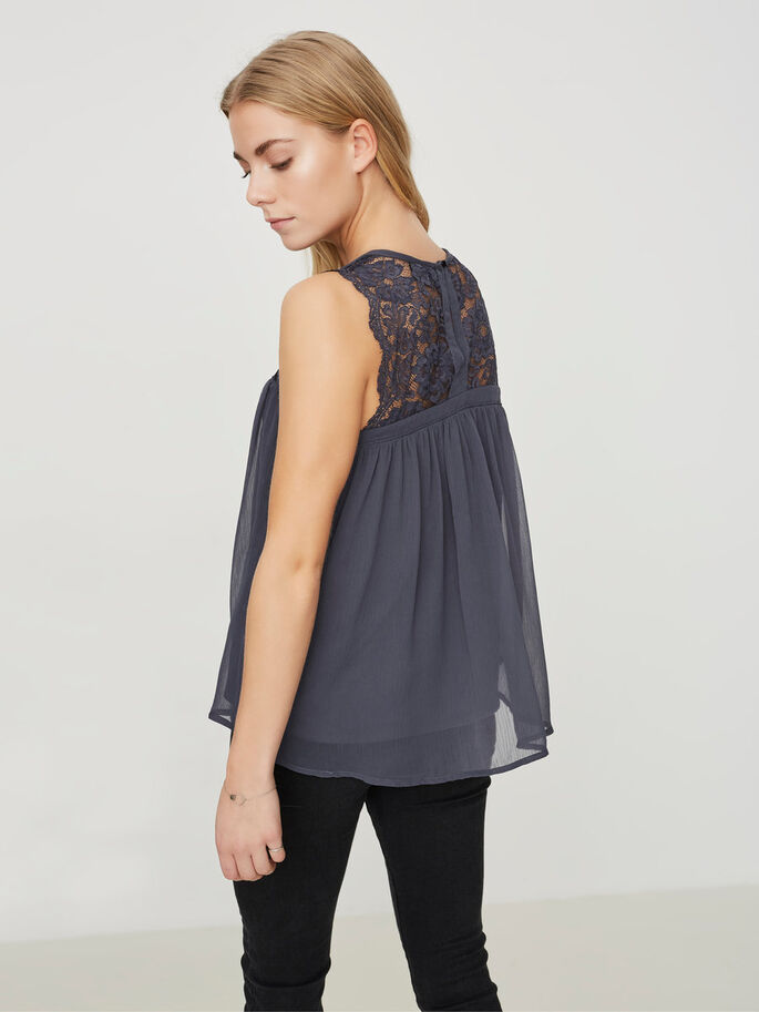 LACE SLEEVELESS TOP, Ombre Blue, large