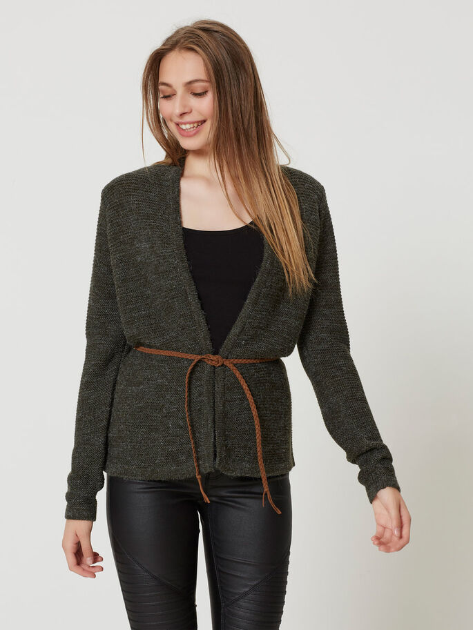 LONG SLEEVED KNITTED CARDIGAN, Peat, large