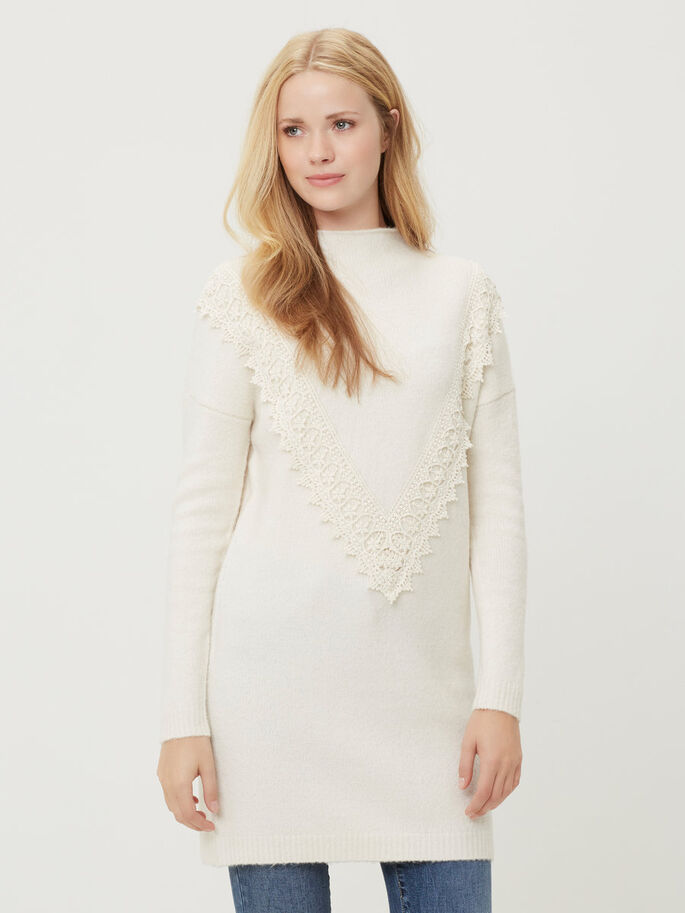 KNITTED LONG SLEEVED DRESS, Snow White, large