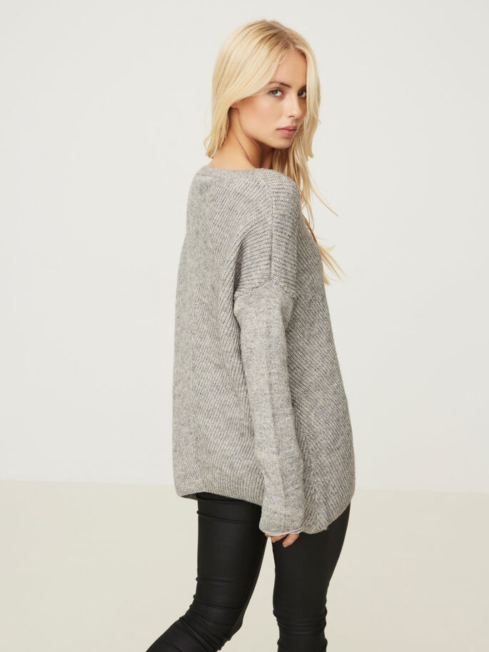 CASUAL KNITTED PULLOVER, Light Grey Melange, large
