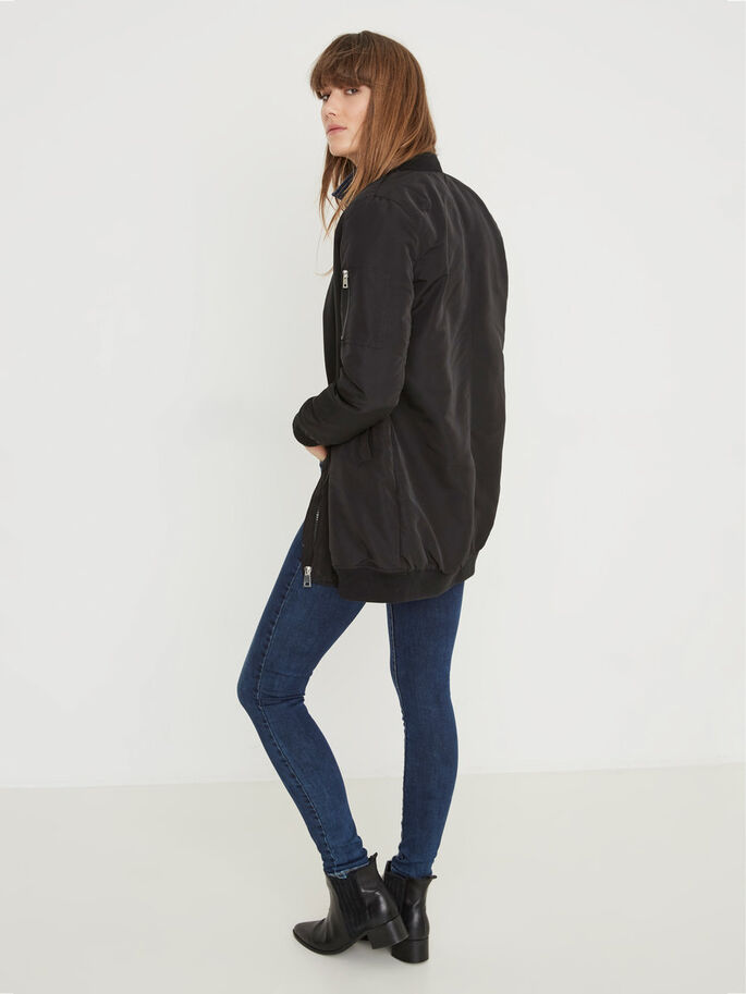LONG BOMBER JACKET, Black, large