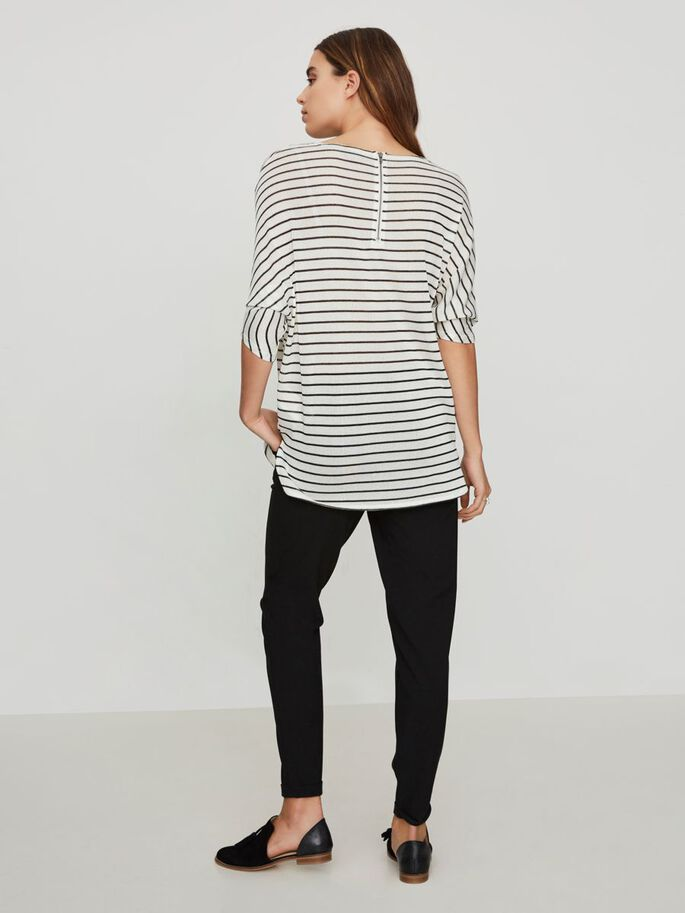 STRIPED 3/4 SLEEVED BLOUSE, Snow White, large