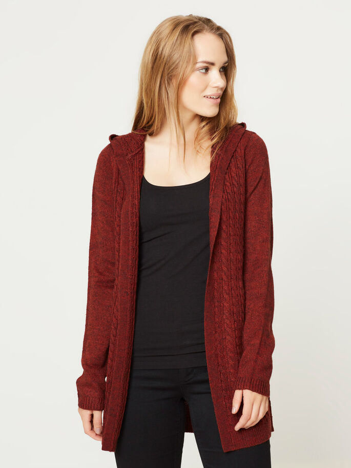 HÆTTE CARDIGAN, Fired Brick, large