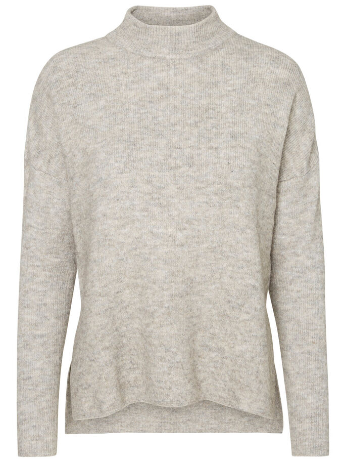 LANGÆRMET PULLOVER, Light Grey Melange, large
