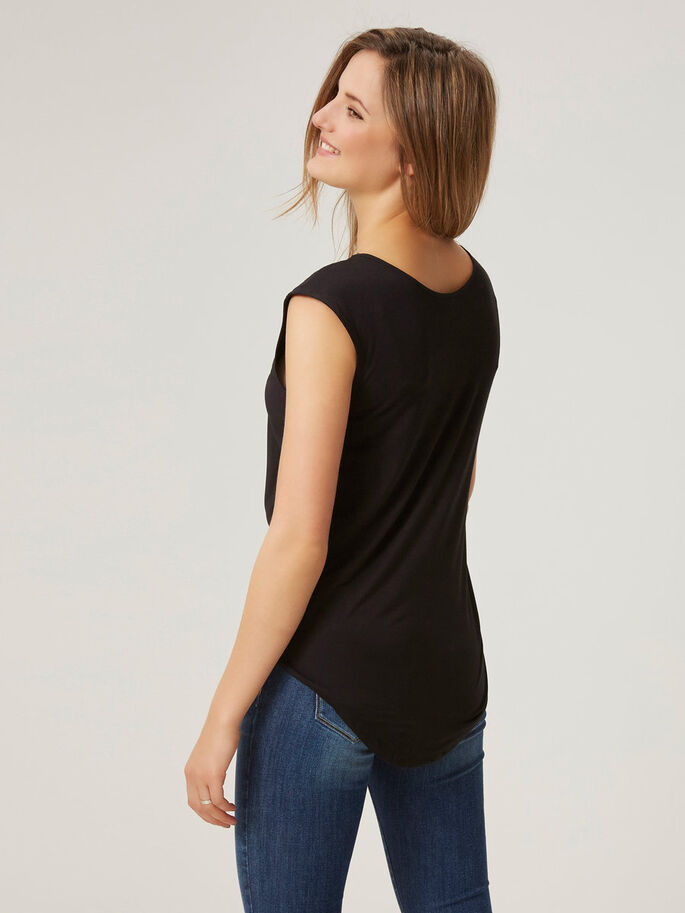 EMBROIDERED SLEEVELESS TOP, Black, large