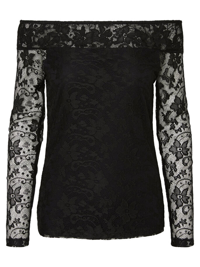 OFF-SHOULDER LANGERMET BLUSE, Black, large
