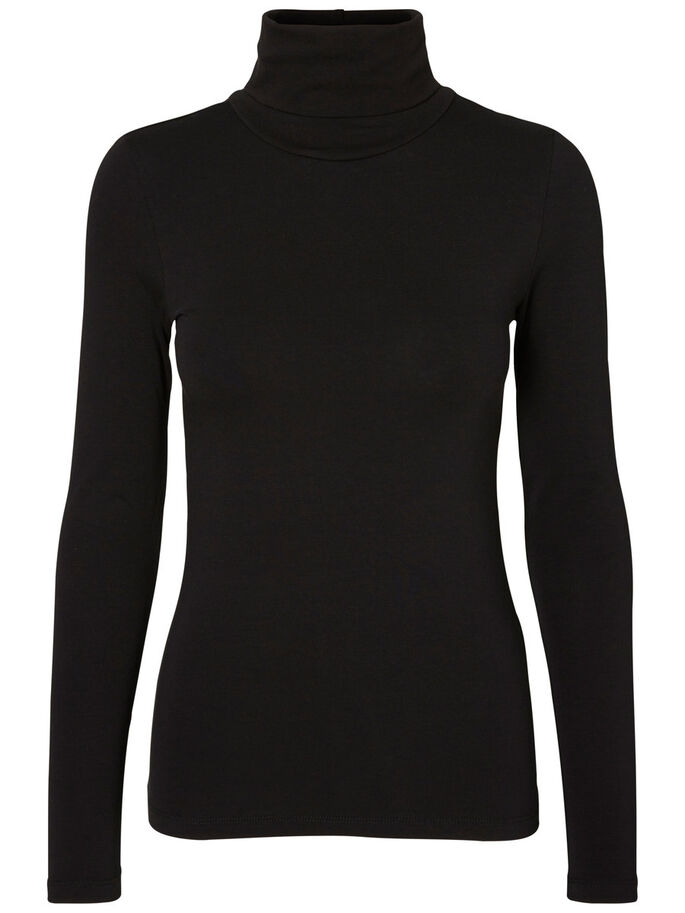 SOFT TURTLENECK LONG SLEEVED TOP, Black, large