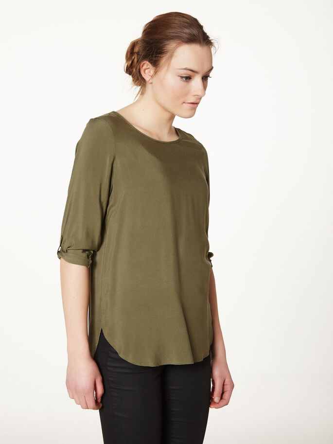 HIGH-LOW 3/4 SLEEVED BLOUSE, Ivy Green, large