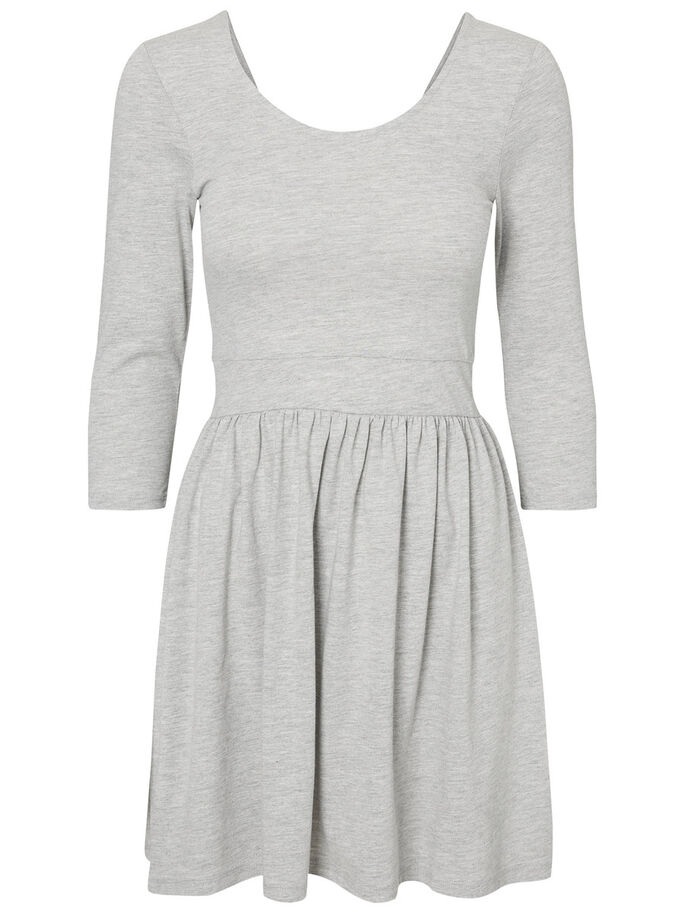 CASUAL JURK MET LANGE MOUWEN, Light Grey Melange, large