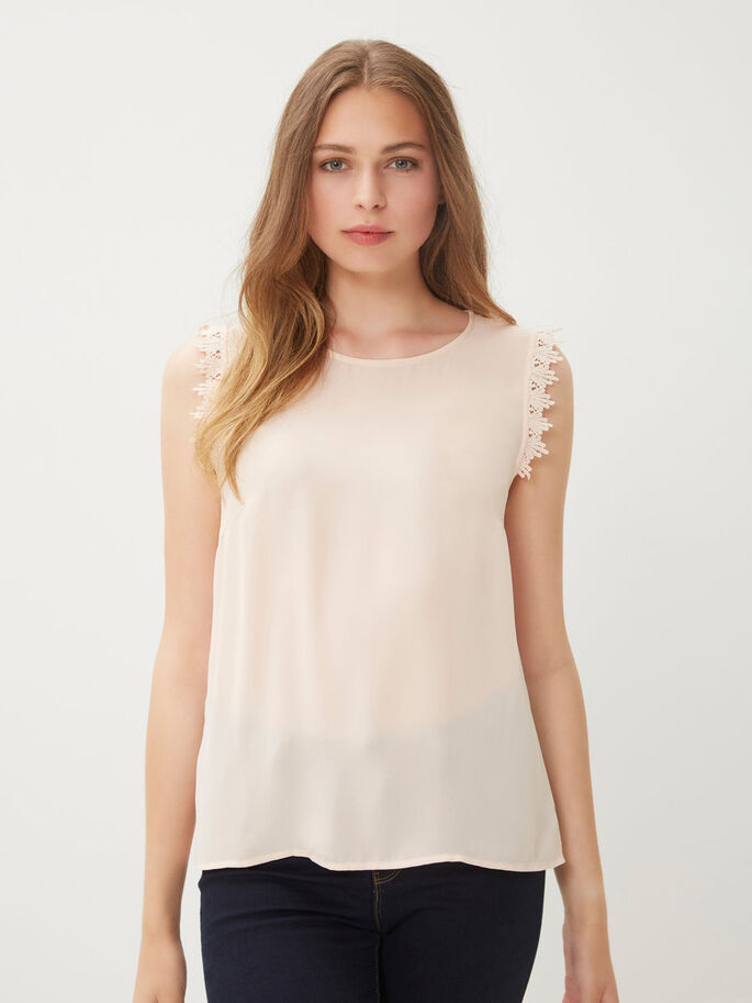 FEMININE SLEEVELESS TOP, Cream Tan, large