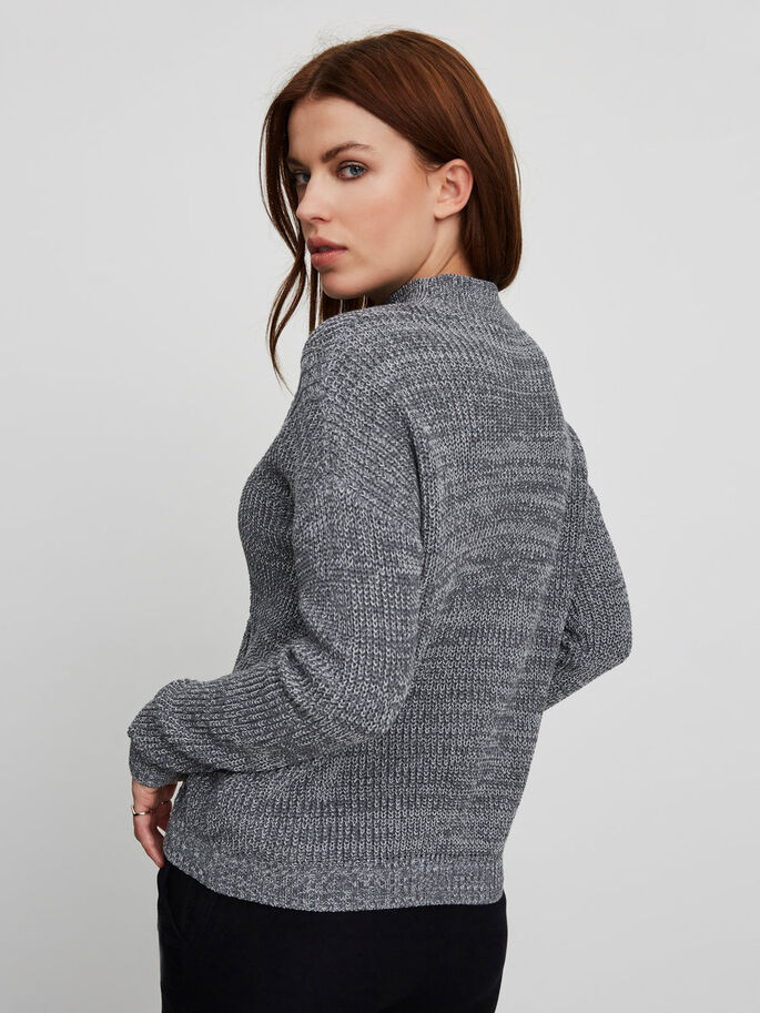 CASUAL GEBREIDE TRUI, Medium Grey Melange, large