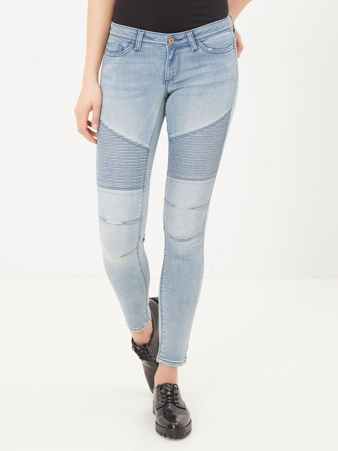 EVE LW MOTARD JEAN SKINNY, Light Blue Denim, large