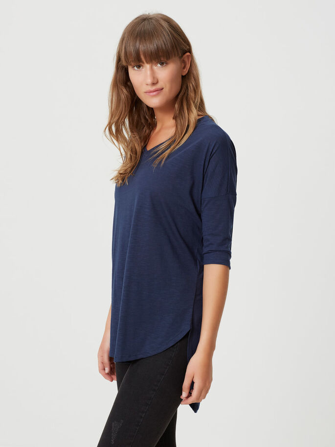 V-NECK TOP MET 3/4 MOUWEN, Black Iris, large