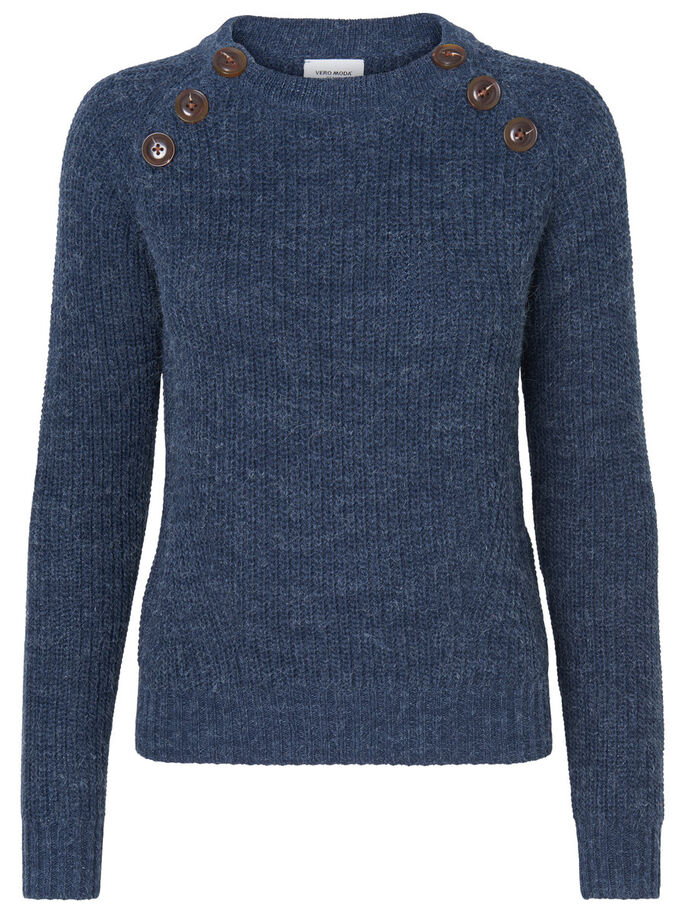 LONG SLEEVED KNITTED PULLOVER, Navy Blazer, large