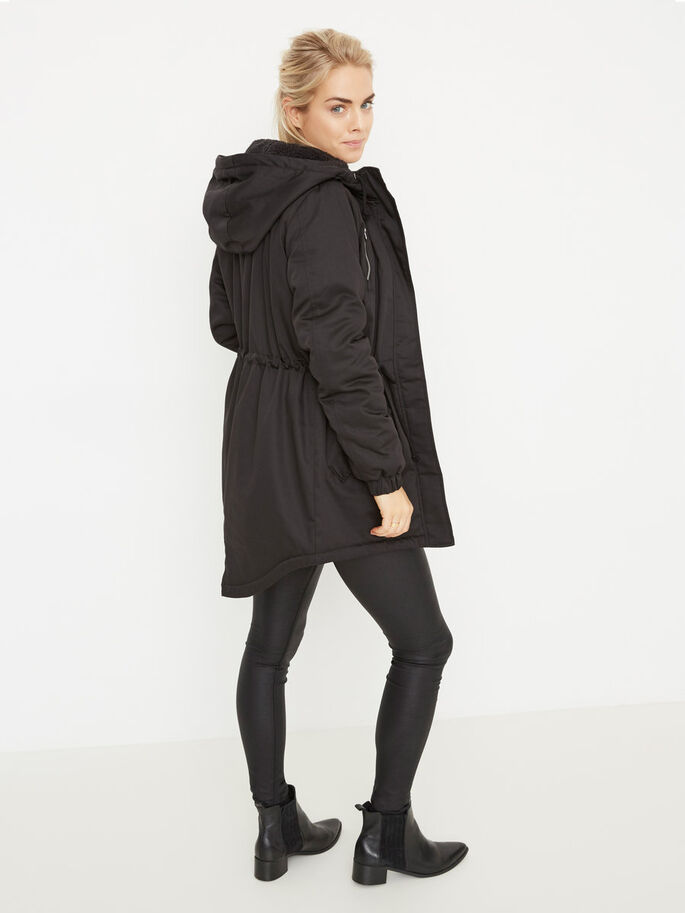 HOODED PARKA COAT, Black, large