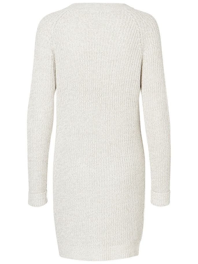 LONG SLEEVED KNITTED DRESS, Oatmeal, large