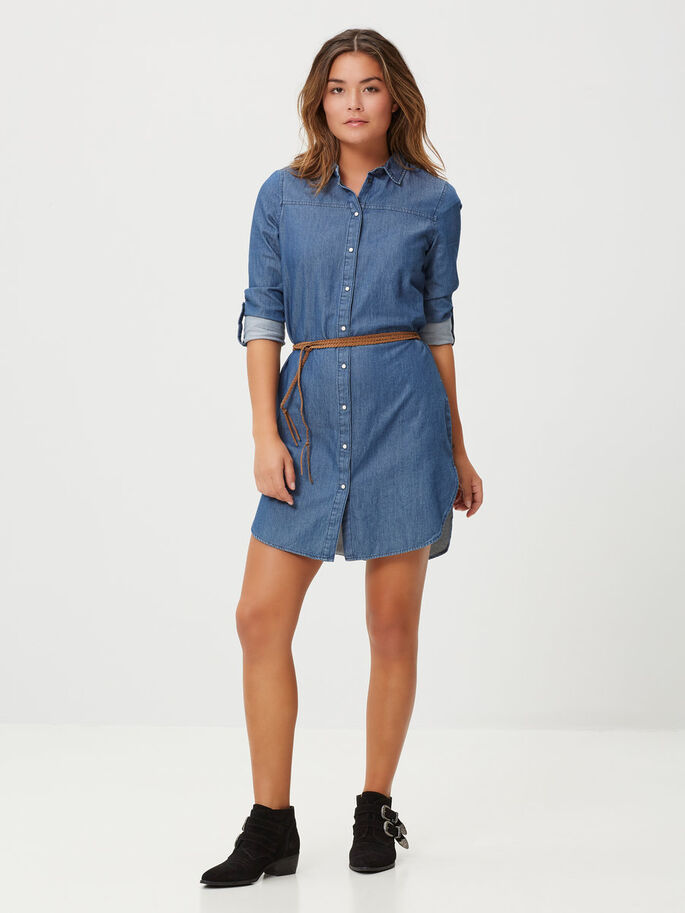 DENIM SHIRT DRESS, Medium Blue Denim, large