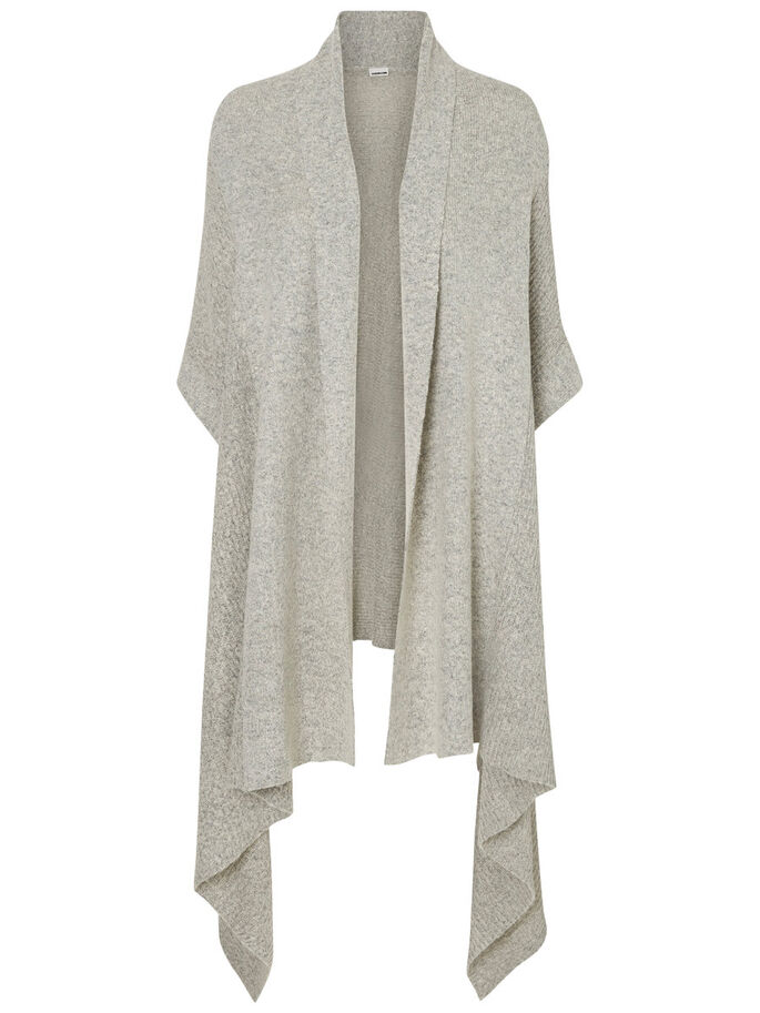 SHORT SLEEVED KNITTED CARDIGAN, Light Grey Melange, large