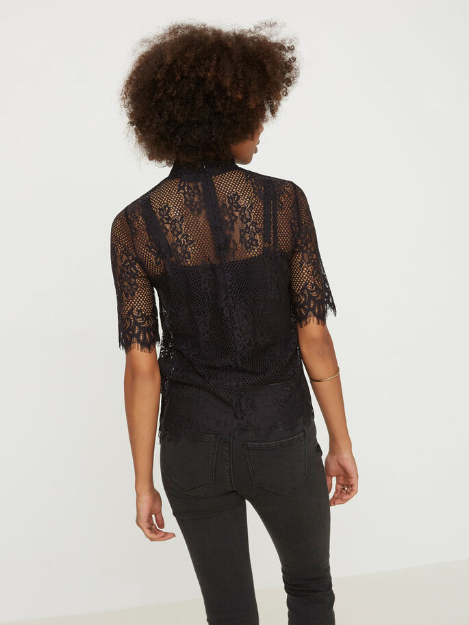LACE 2/4 SLEEVED BLOUSE, Black, large