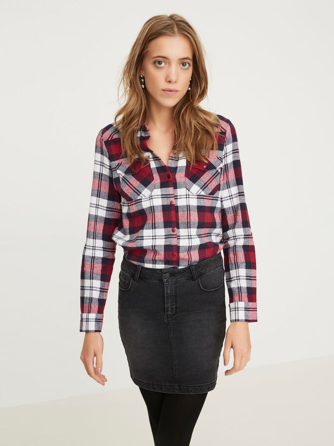 CHEQUERED LONG SLEEVED SHIRT, Beet Red, large