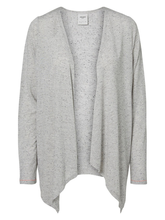 DRAPED CARDIGAN, Light Grey Melange, large