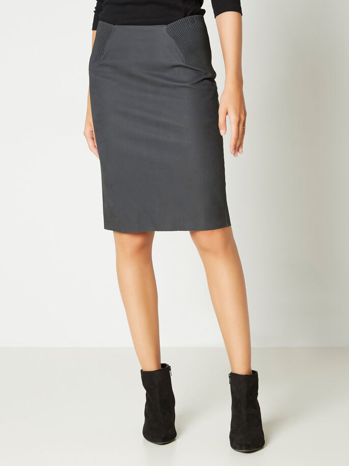 IMITATION LEATHER HW SKIRT, Black, large
