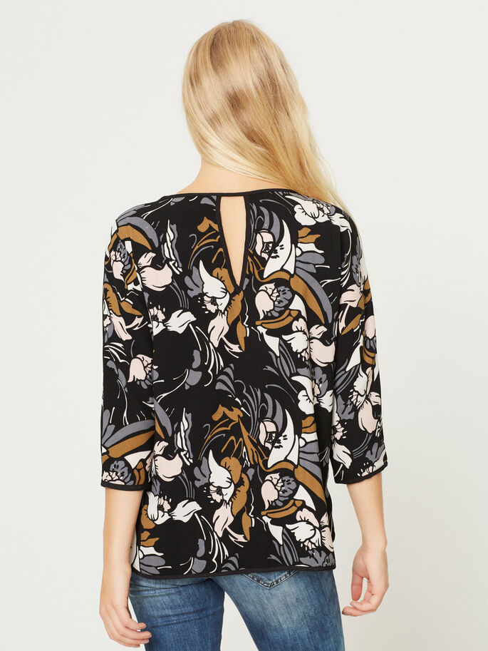 PRINTED 3/4 SLEEVED BLOUSE, Black_1, large
