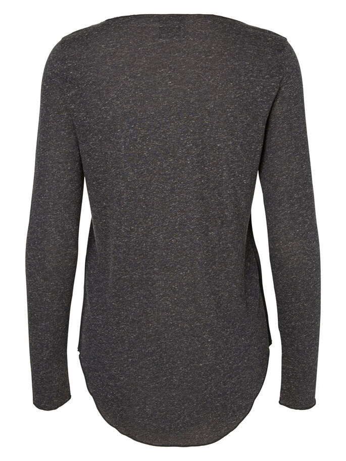 U-HALS TOP MED LANGE ÆRMER, Black, large