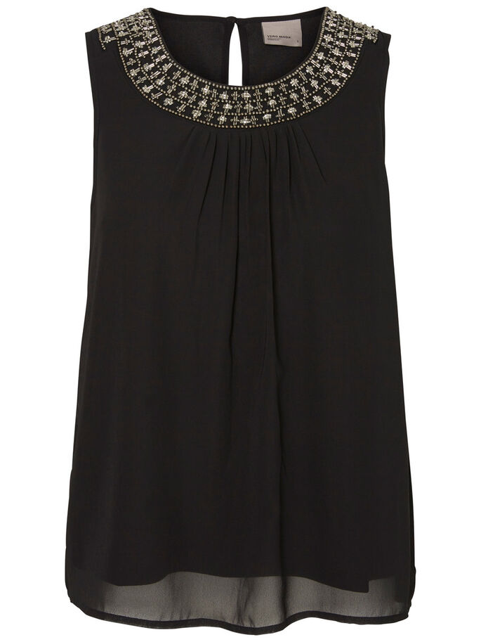 BEADED SLEEVELESS TOP, Black, large