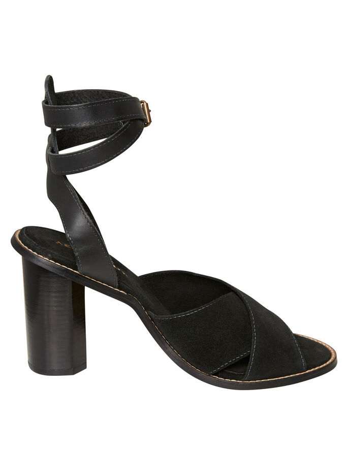 HIGH-HEELED LEATHER SANDALS, Black, large