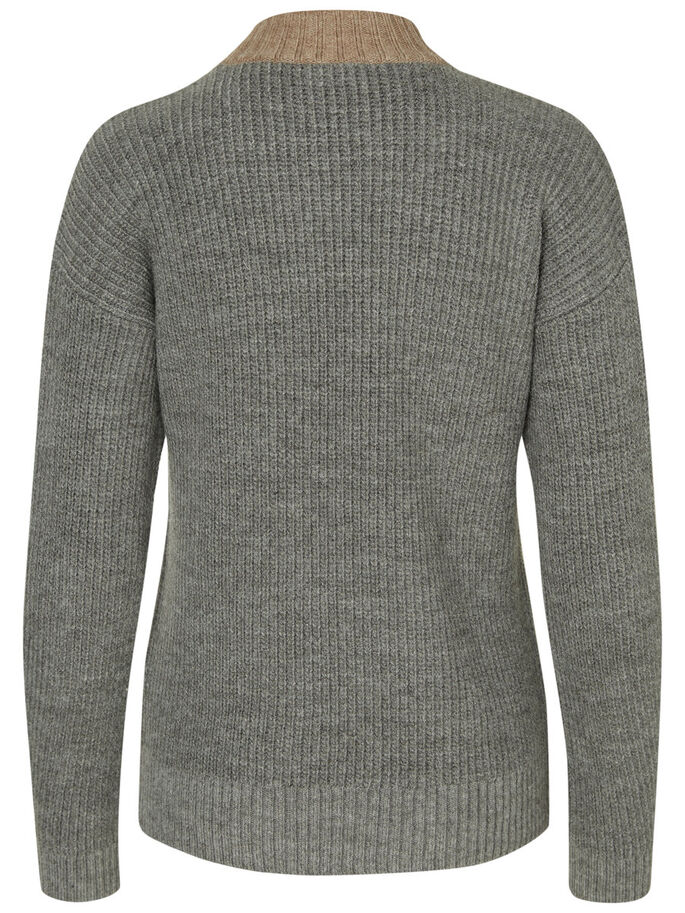 DETALJERET STRIKKET PULLOVER, Medium Grey Melange, large