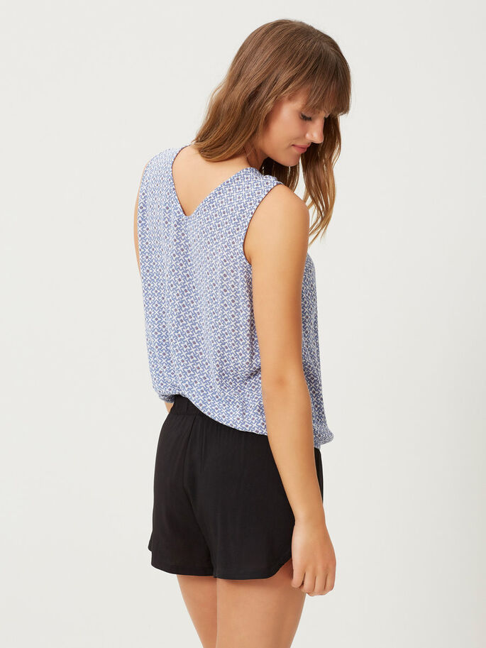 PRINTED SLEEVELESS TOP, Colony Blue, large