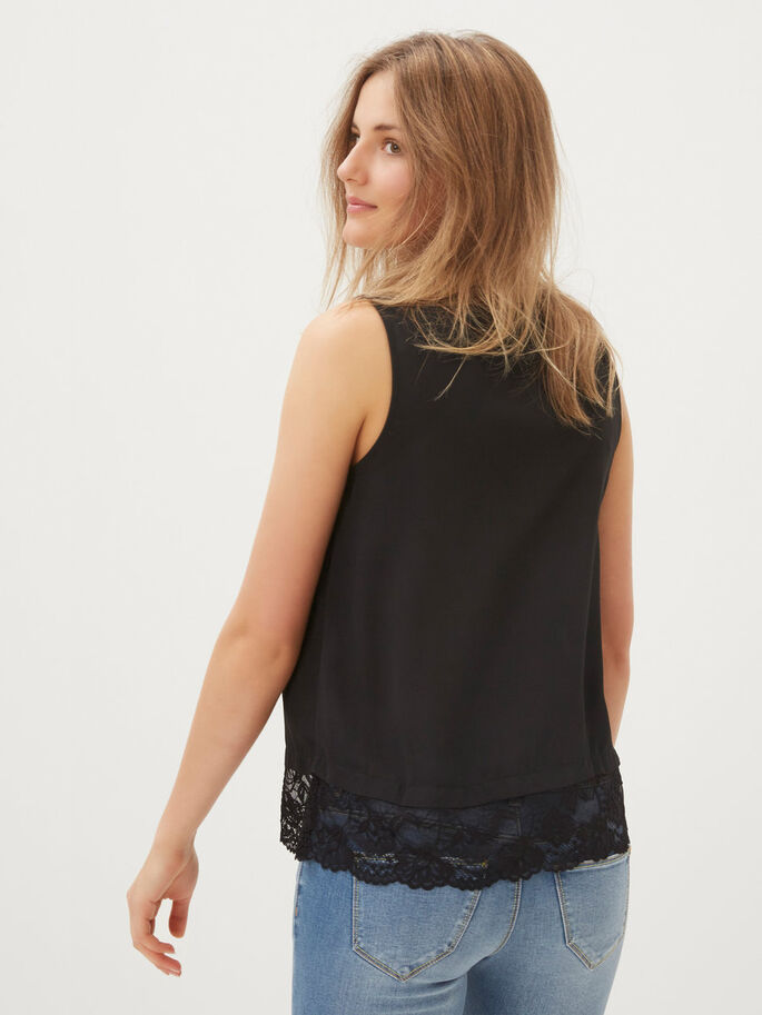 LACED SLEEVELESS TOP, Black, large