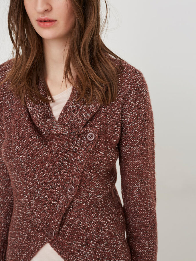 CASUAL KNITTED CARDIGAN, Decadent Chocolate, large