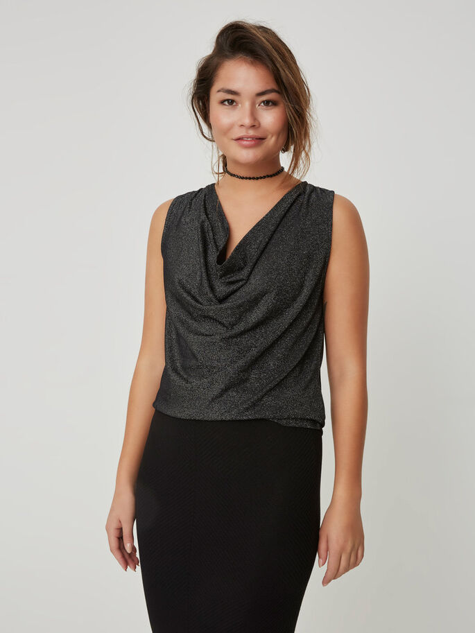 GLITTER SLEEVELESS TOP, Black, large