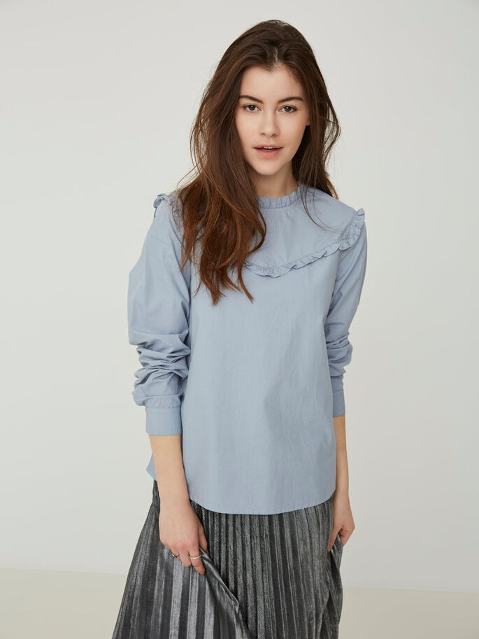 FEMININE LONG SLEEVED SHIRT, Dusty Blue, large