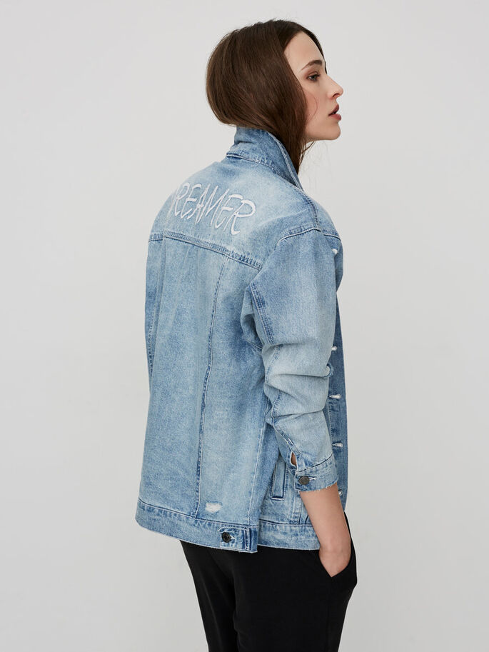 DENIM JACKET, Light Blue Denim, large