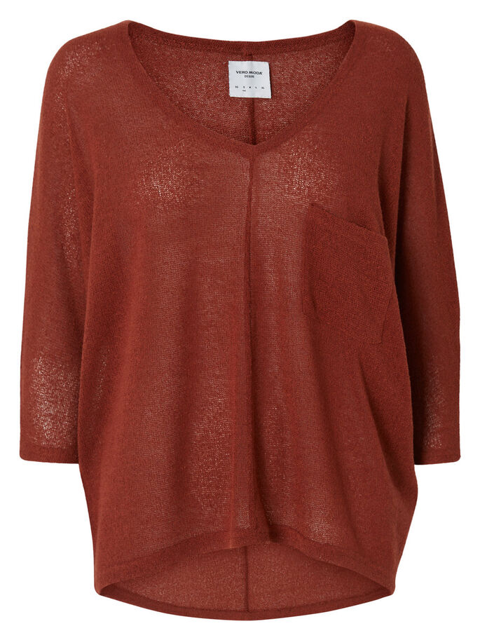 OVERSIZED KNITTED BLOUSE, Henna, large