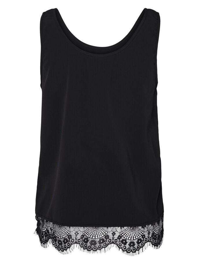 DENTELLE TOP SANS MANCHES, Black, large