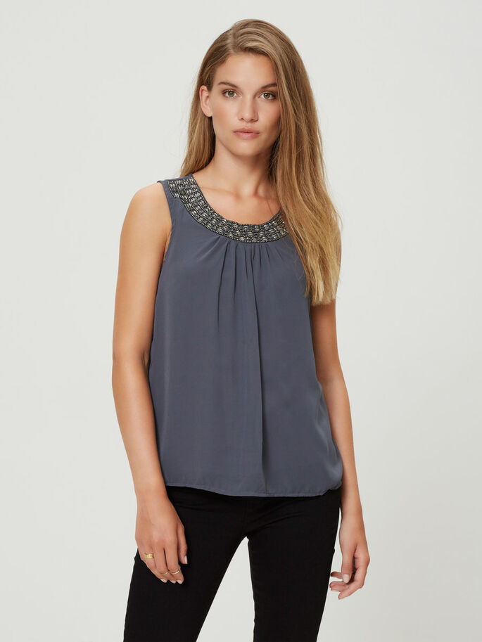 BEADED SLEEVELESS TOP, Ombre Blue, large