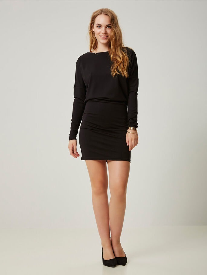 LONG SLEEVED SHORT DRESS, Black, large