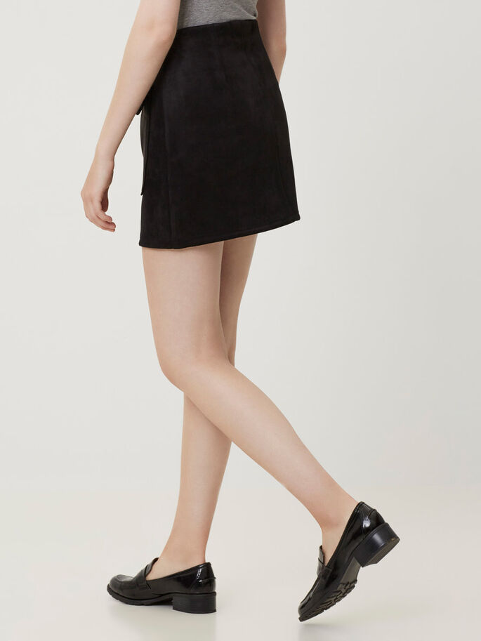 FAUX SUEDE HW SKIRT, Black, large