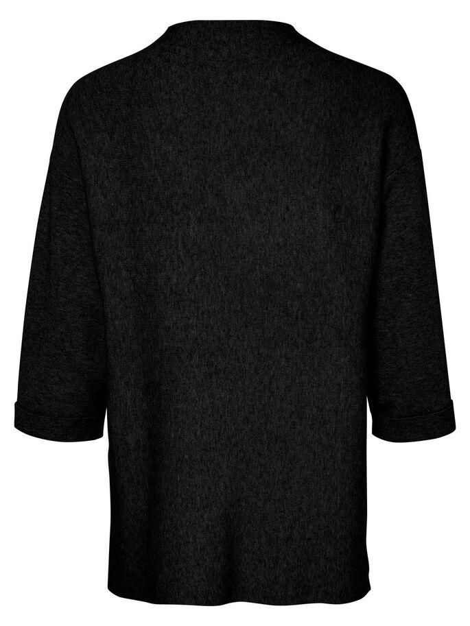 MANCHES 3/4 PULL EN MAILLE, Dark Grey Melange, large