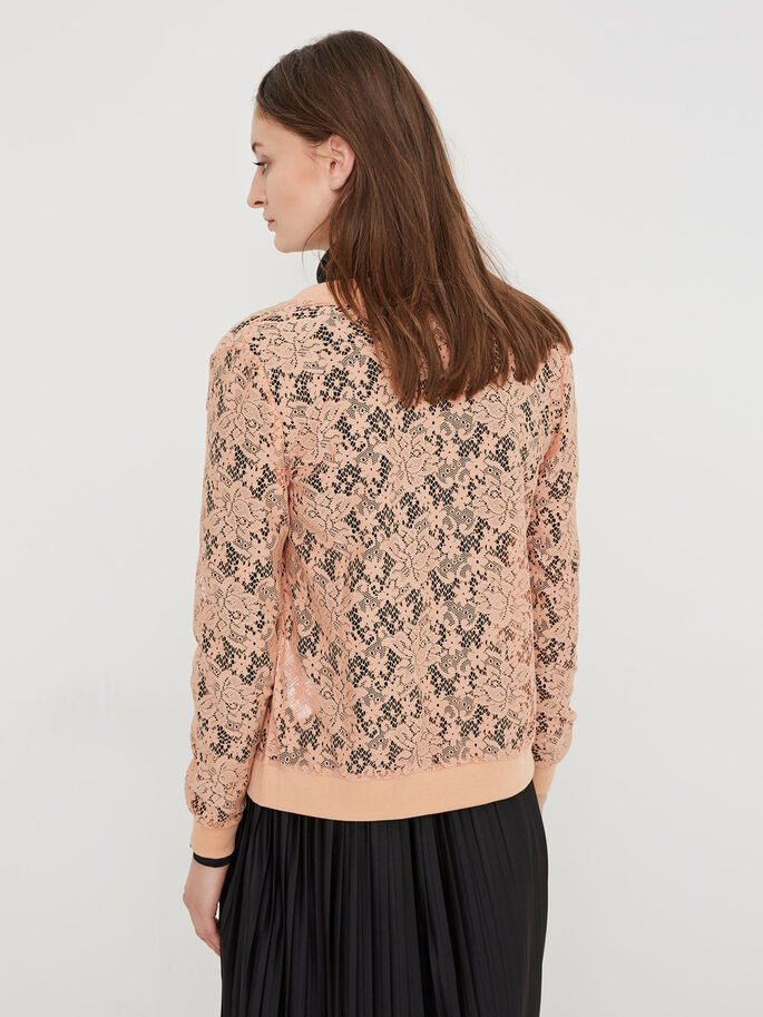 LACE BOMBER JACKET, Dusty Coral, large