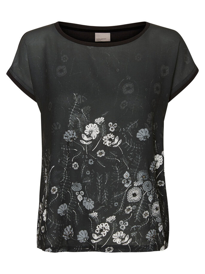 PRINTED T-SHIRT, Black, large