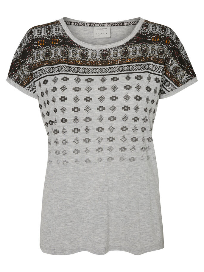 PRINTET T-SHIRT, Light Grey Melange, large